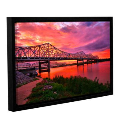 Brushstone Bridges At Sunrise Gallery Wrapped Floater-Framed Canvas Wall Art
