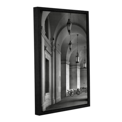 Brushstone Colonnade and Bicycles Gallery WrappedFloater-Framed Canvas Wall Art
