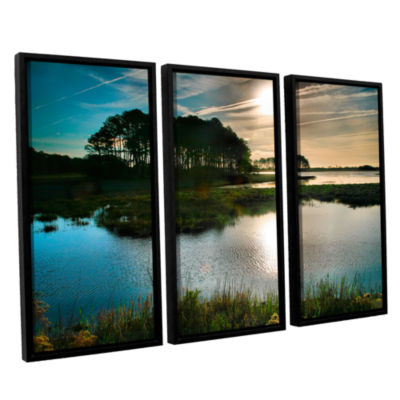 Brushstone Early Morning on Beach Drive I 3-pc. Floater Framed Canvas Wall Art
