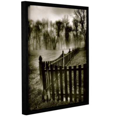 Brushstone Fence in the Fog Gallery Wrapped Floater-Framed Canvas Wall Art