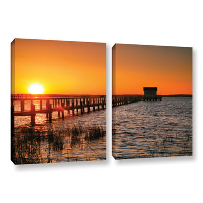 Brushstone House at the End of the Pier 2-pc. Gallery Wrapped Canvas Wall Art