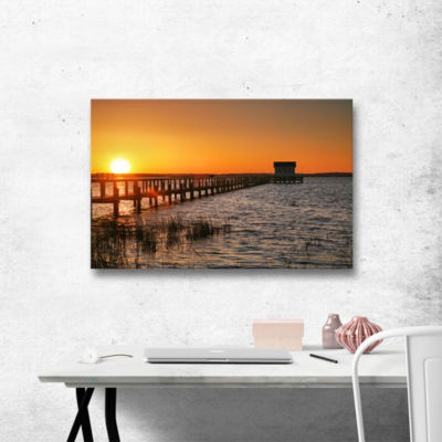 Brushstone House at the End of the Pier Gallery Wrapped Canvas Wall Art
