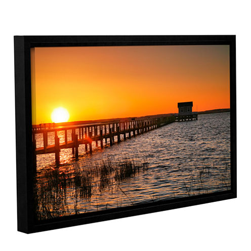Brushstone House at the End of the Pier Gallery Wrapped Floater-Framed Canvas Wall Art