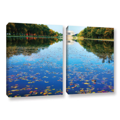 Brushstone Lincoln Memorial and Reflecting Pool I2-pc. Gallery Wrapped Canvas Wall Art