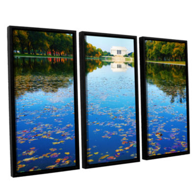 Brushstone Lincoln Memorial and Reflecting Pool I3-pc. Floater Framed Canvas Wall Art