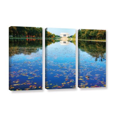 Brushstone Lincoln Memorial and Reflecting Pool I3-pc. Gallery Wrapped Canvas Wall Art