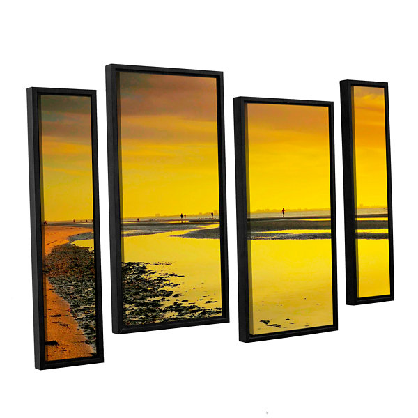 Brushstone Mellow Yellow Morning 4-pc. Floater Framed Staggered Canvas Wall Art