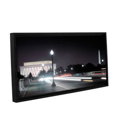 Brushstone Memorial Bridge at Night Gallery Wrapped Floater-Framed Canvas Wall Art