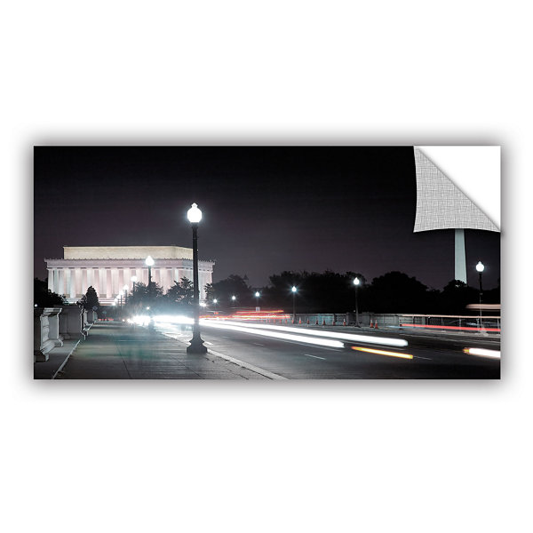 Brushstone Memorial Bridge at Night Removable WallDecal