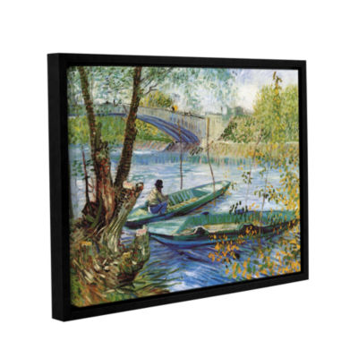 Brushstone Fishing In Spring, The Pont De Clichy (Asnieres) Gallery Wrapped Floater-Framed Canvas Wall Art