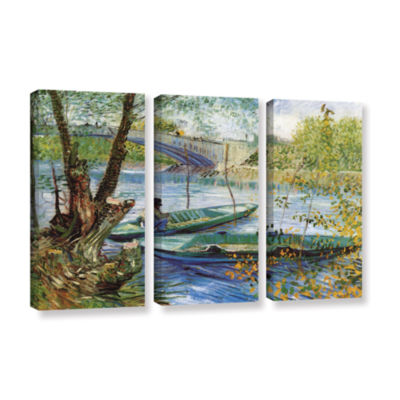 Brushstone Fishing In Spring; The Pont De Clichy (Asnieres) 3-pc. Gallery Wrapped Canvas Wall Art