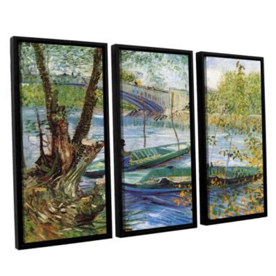 Brushstone Fishing In Spring; The Pont De Clichy (Asnieres) 3-pc. Floater Framed Canvas Wall Art