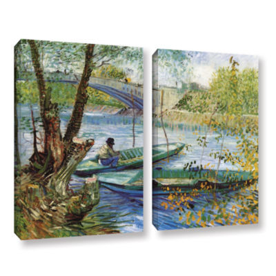 Brushstone Fishing In Spring; The Pont De Clichy (Asnieres) 2-pc. Gallery Wrapped Canvas Wall Art
