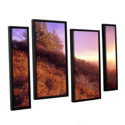 Brushstone Fire Light 4-pc. Floater Framed Staggered Canvas Wall Art