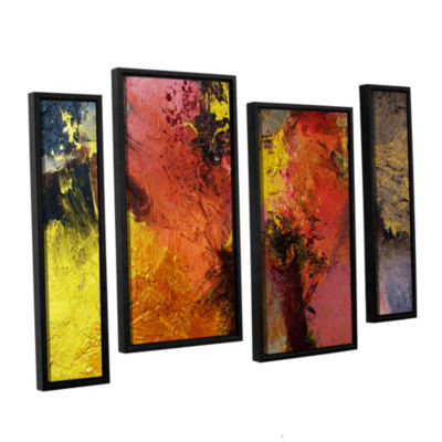 Brushstone Fire And Brimstone 4-pc. Floater FramedStaggered Canvas Wall Art