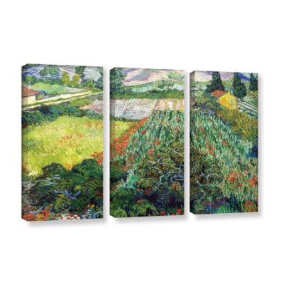 Brushstone Field With Poppies 3-pc. Gallery Wrapped Canvas Wall Art