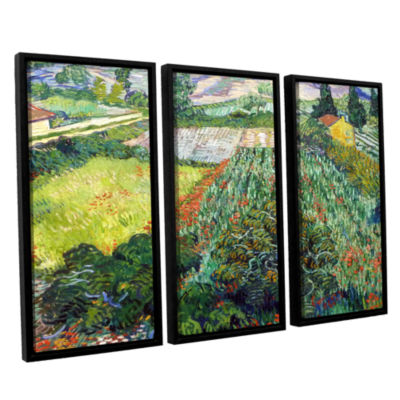 Brushstone Field With Poppies 3-pc. Floater FramedCanvas Wall Art