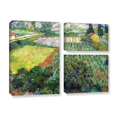 Brushstone Field With Poppies 3-pc. Flag Gallery Wrapped Canvas Wall Art
