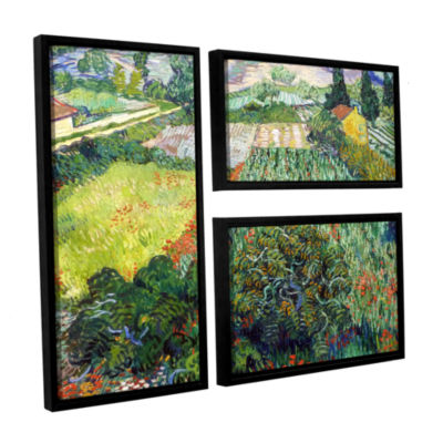 Brushstone Field With Poppies 3-pc. Flag Floater Framed Canvas Wall Art