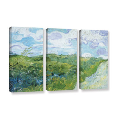 Brushstone Field With Green Wheat 3-pc. Gallery Wrapped Canvas Wall Art