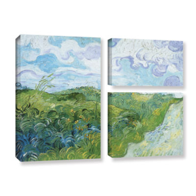 Brushstone Field With Green Wheat 3-pc. Flag Gallery Wrapped Canvas Wall Art