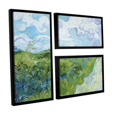 Brushstone Field With Green Wheat 3-pc. Flag Floater Framed Canvas Wall Art