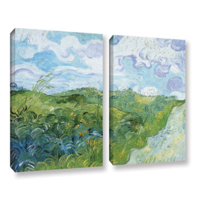 Brushstone Field With Green Wheat 2-pc. Gallery Wrapped Canvas Wall Art