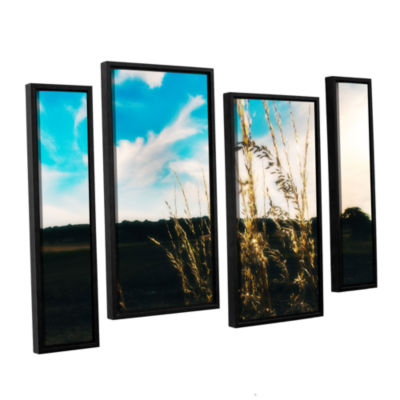 Brushstone Field 4-pc. Floater Framed Staggered Canvas Wall Art