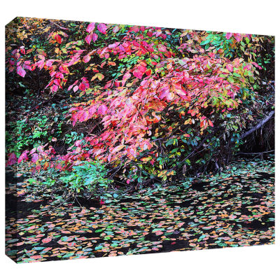 Brushstone Fall On The Pond Gallery Wrapped CanvasWall Art