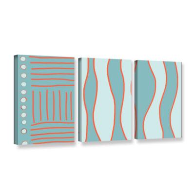 Brushstone Fabric Design Ii 3-pc. Gallery WrappedCanvas Wall Art