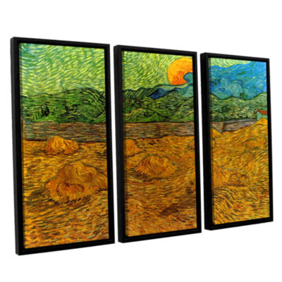 Brushstone Evening Landscape With Rising Moon 3-pc. Floater Framed Canvas Wall Art