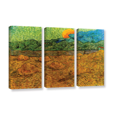 Brushstone Evening Landscape With Rising Moon 3-pc. Gallery Wrapped Canvas Wall Art