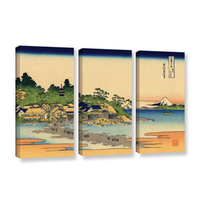 Brushstone Enoshima In The Sagami Province 3-pc. Gallery Wrapped Canvas Wall Art