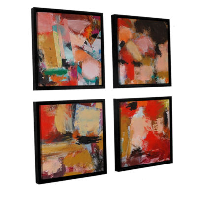 Brushstone Entropy 4-pc. Square Floater Framed Canvas Wall Art