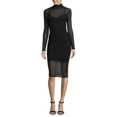 T.D.C Long Sleeve Mockneck Mesh Dress