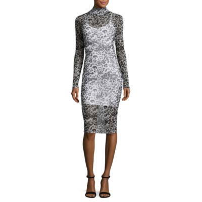 T.D.C Long Sleeve Mock Neck Mesh Dress
