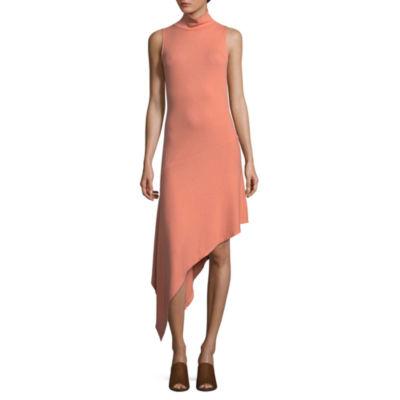 T.D.C Sleeveless Mock Neck Asymmetrical Dress