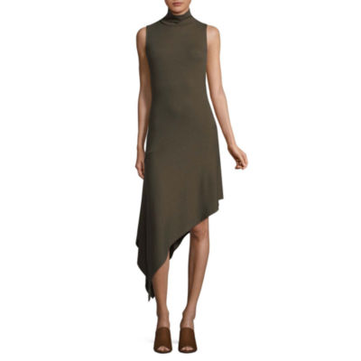 T.D.C Sleeveless Mock Neck Asymmetrical Dress