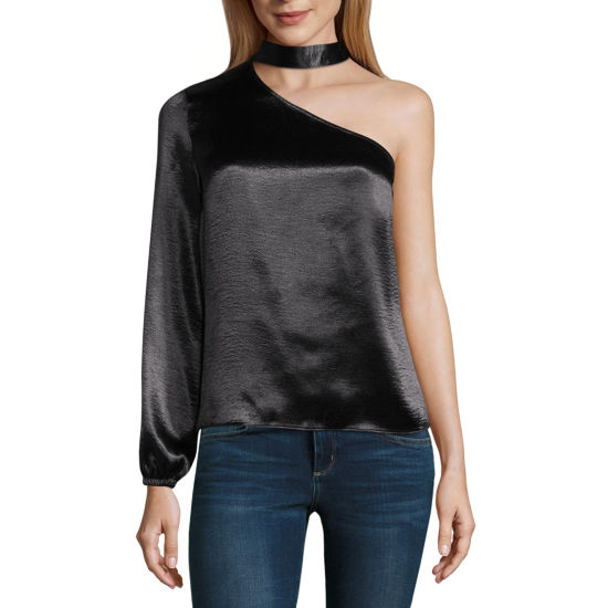 Project Runway One Shoulder Choker Blouse - Plus