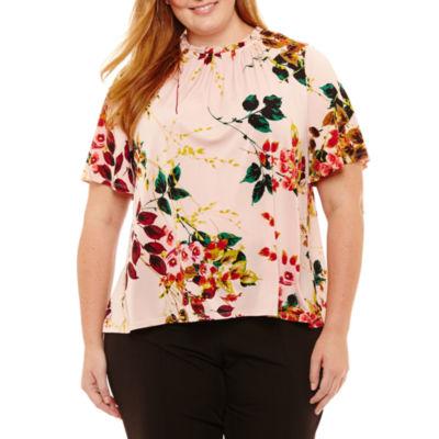 Worthington Short Sleeve Crew Neck Floral T-Shirt-Womens Plus
