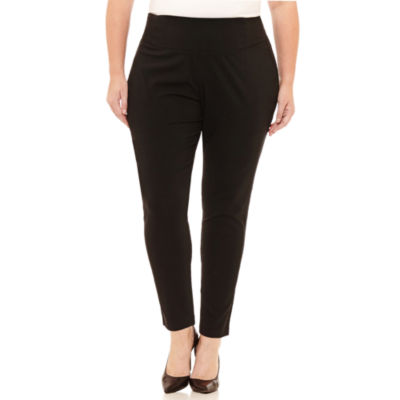Worthington Curvy Woven Pull-On Skinny Pants - Plus
