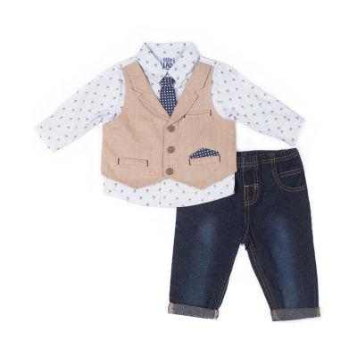 Little Lass 2-pc. Pattern Pant Set Baby Boys.