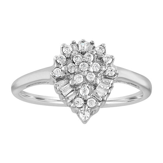 Womens 1/4 CT. T.W. Genuine White Diamond Cluster Cocktail Ring