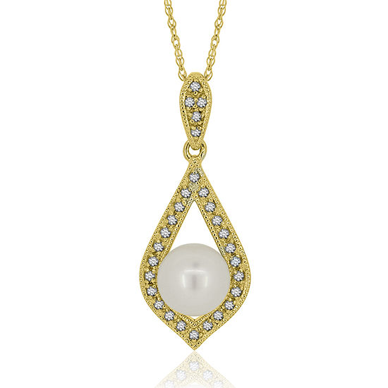 Womens White Cultured Freshwater Pearl 14K Gold Over Silver Pendant Necklace