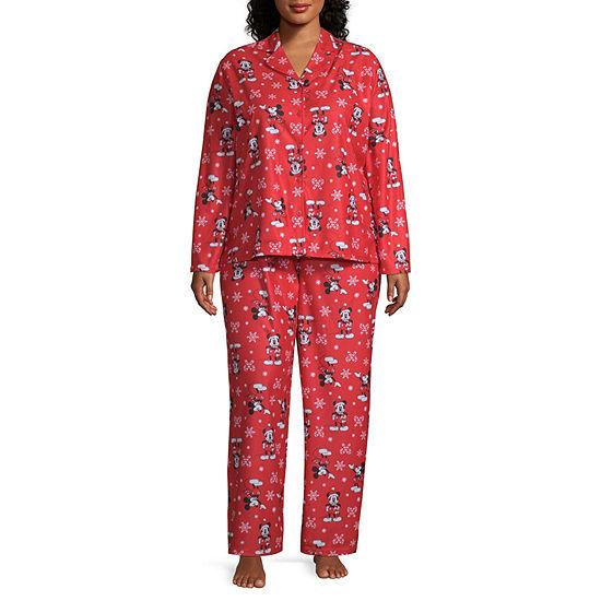 Disney Womens-Plus Pant Pajama Set 2-pc. Long Sleeve