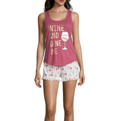 Pj Couture Say It In Style Womens-Juniors Shorts Pajama Set 2-pc. Sleeveless