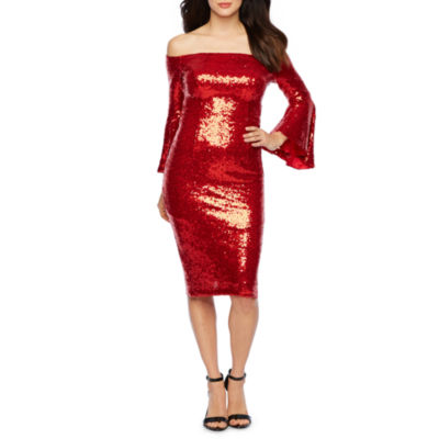 Premier Amour Long Sleeve Off The Shoulder Sequin Sheath Dress