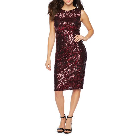 Premier Amour Sleeveless Sequin Sheath Dress