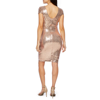 Premier Amour Short Sleeve Sequin Sheath Dress