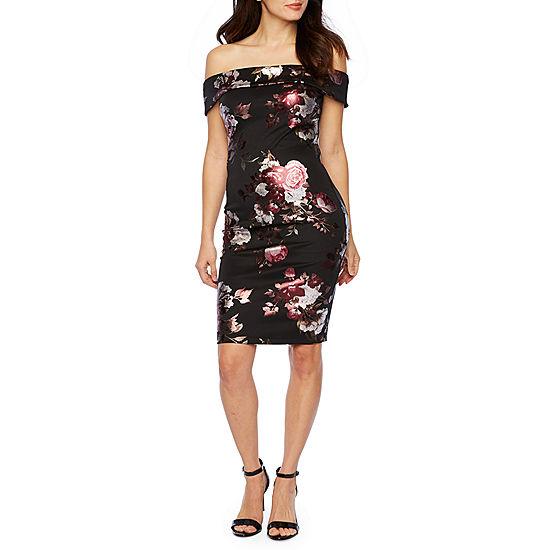 4b210a21 Premier Amour Short Sleeve Off The Shoulder Floral Sheath Dress - JCPenney